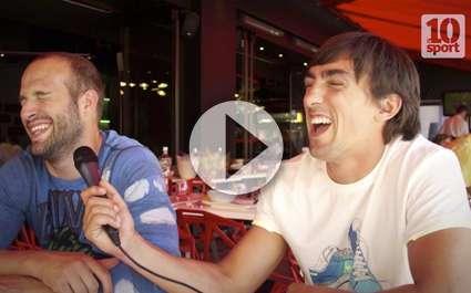 Michalak et Durand interviewés par un jeune reporter de l'UNSS