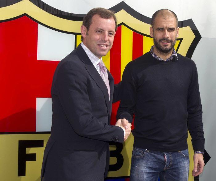Sandro Rosell et Pep Guardiola