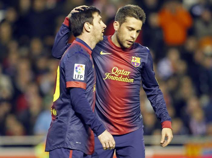 Jordi Alba et Lionel Messi, FC Barcelone