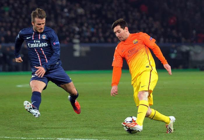 David Beckham et Lionel Messi, en avril 2013