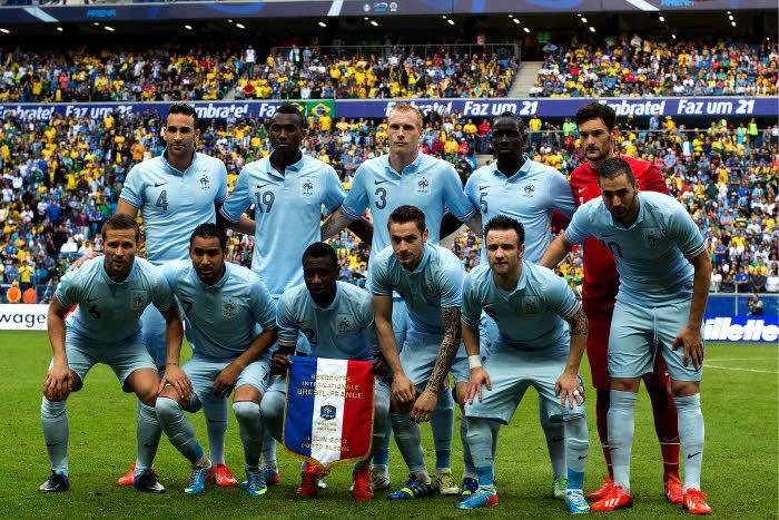 L'équipe de France avant le match face au Brésil