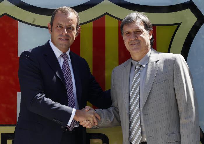Sandro Rosell et Gerardo Martino, FC Barcelone
