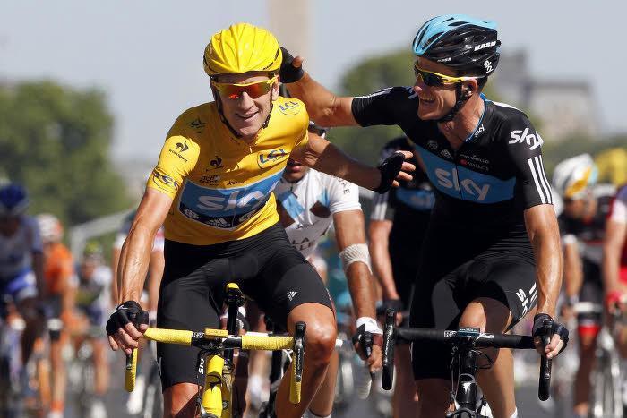 Bradley Wiggins et Christopher Froome, lors du Tour 2012