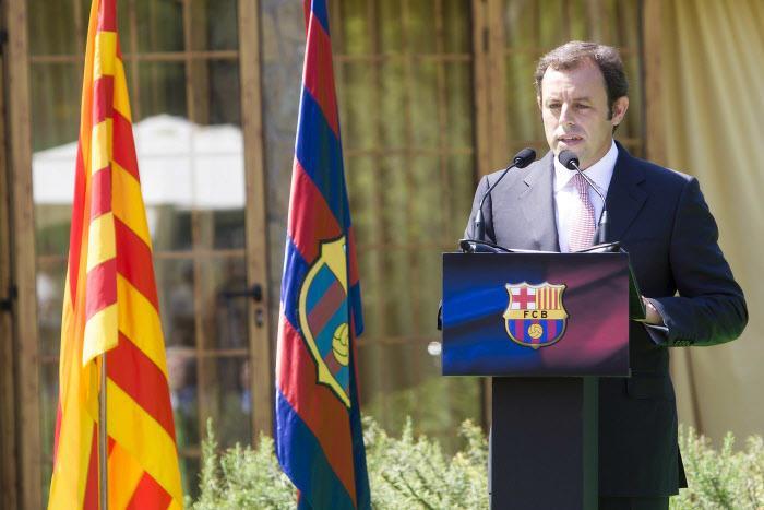 Sandro Rosell, lors de son intronisation en 2010