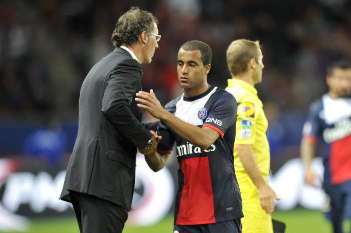 Laurent Blanc et Lucas Moura, PSG
