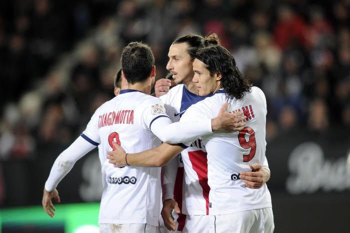 Thiago Motta, Zlatan Ibrahimovic, Edinson Cavani, PSG