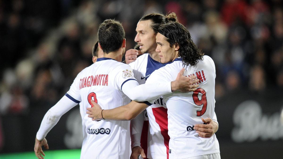 Thiago Motta, Zlatan Ibrahimovic & Edinson Cavani, PSG