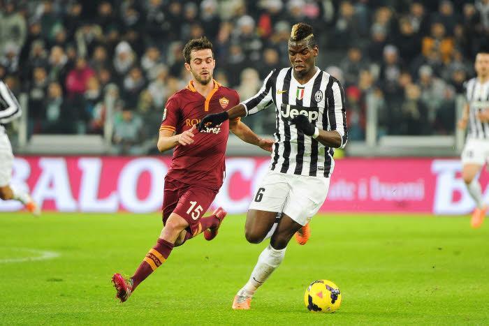 Miralem Pjanic (AS Rome) et Paul Pogba (Juventus Turin)
