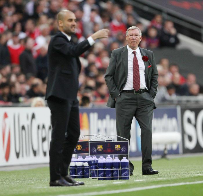 Sir Alex Ferguson et Pep Guardiola, en 2011