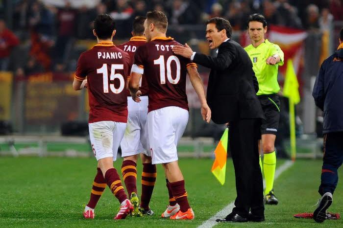Rudi Garcia, Francesco Totti et Miralem Pjanic