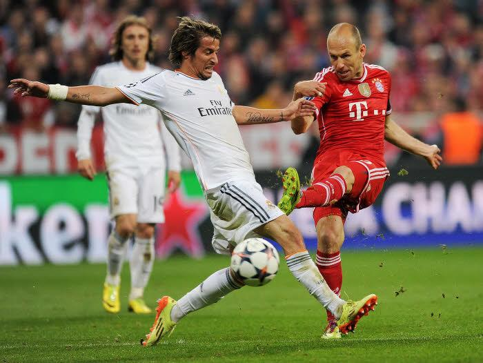Fabio Coentrao face à Arjen Robben