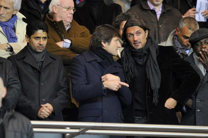 Paolo Maldini, aux côtés de Nasser Al-Khelaïfi et Leonardo