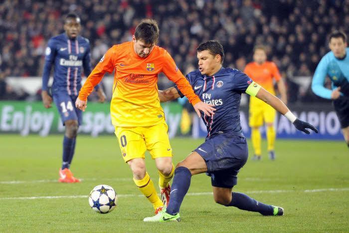 Lionel Messi (Barcelone) et Thiago Silva (PSG), avril 2013