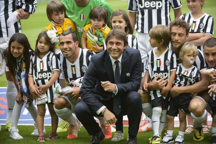Carlos Tevez, Antonio Conte et Claudio Marchisio