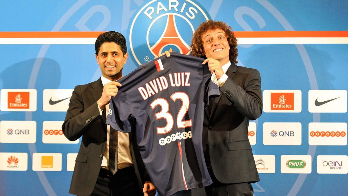 Nasser Al-Khelaïfi et David Luiz, PSG
