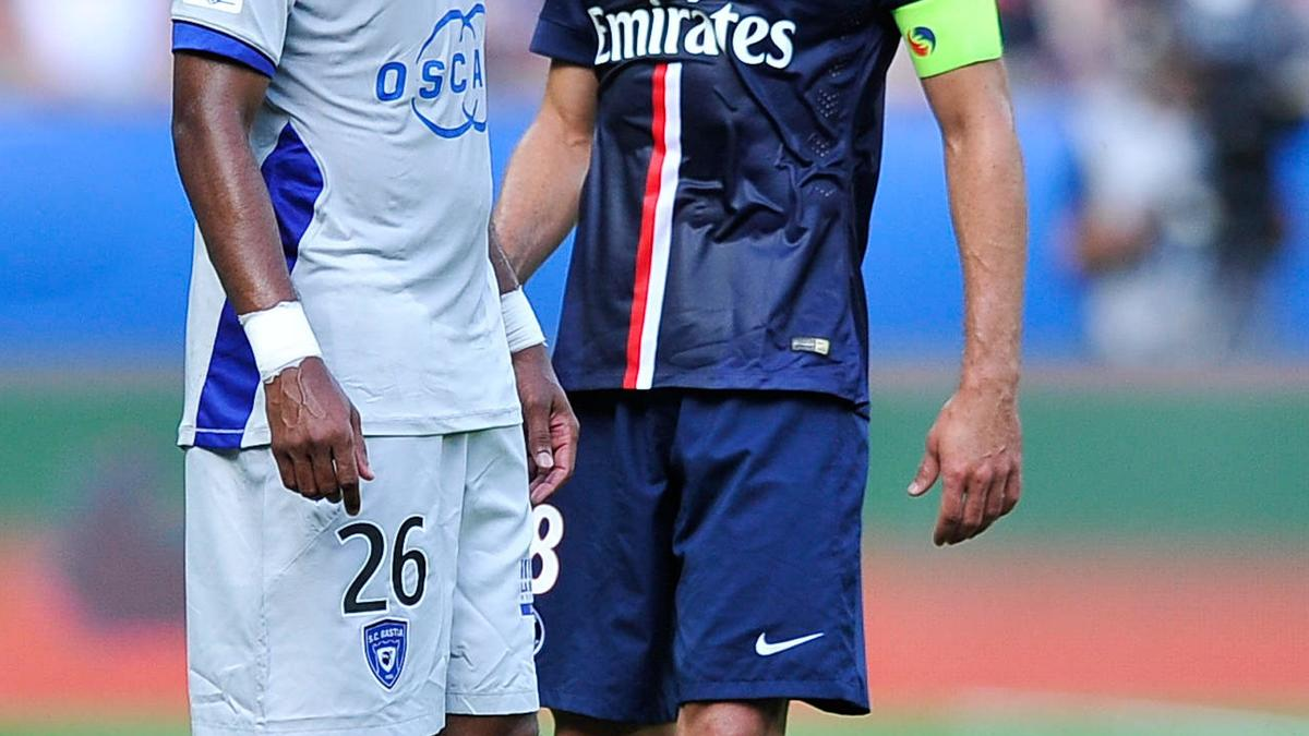 Brandao et Thiago Motta lors de PSG - SC Bastia