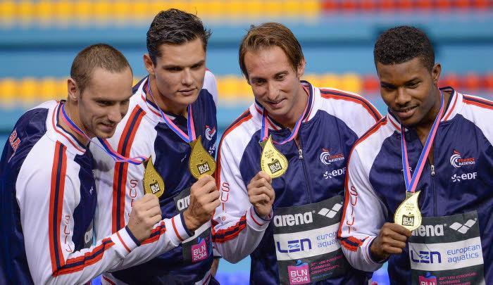 Florent Manaudou et Fabien Gilot (au centre)