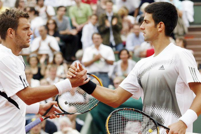 Paul-Henri Mathieu et Novak Djokovic