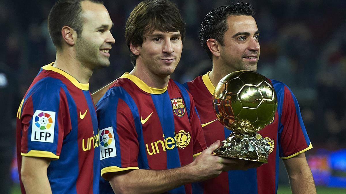 Andrés Iniesta, Lionel Messi & Xavi