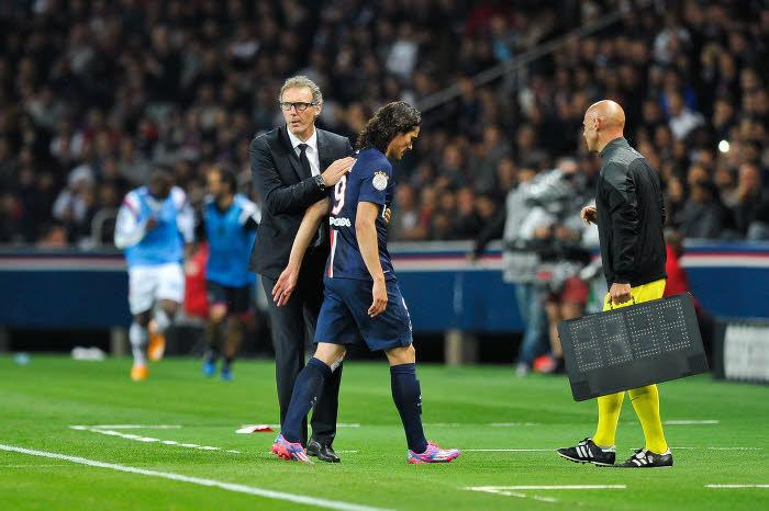 Laurent Blanc et Edinson Cavani, PSG