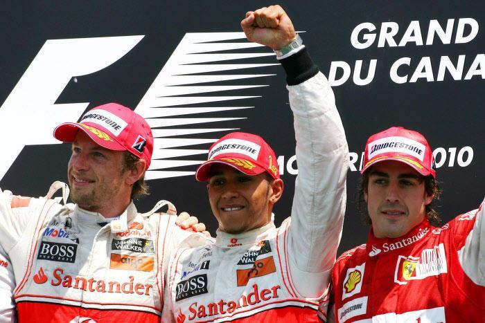 Fernando Alonso, Jenson Button et Lewis Hamilton sur le podium