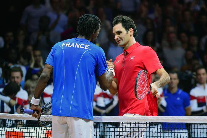 Gaël Monfils et Roger Federer, finale Coupe Davis 2014