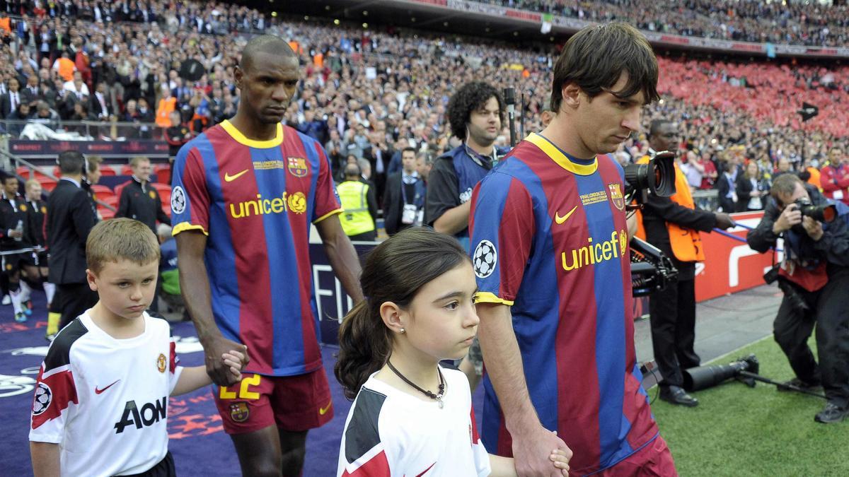Eric Abidal et Lionel Messi, FC Barcelone