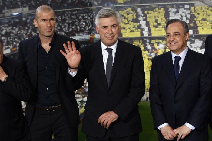 Zinedine Zidane, Carlo Ancelotti et Florentino Perez, Real Madrid