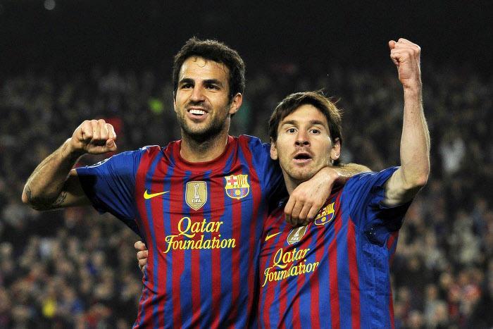 Cesc Fabregas et Lionel Messi, en 2012