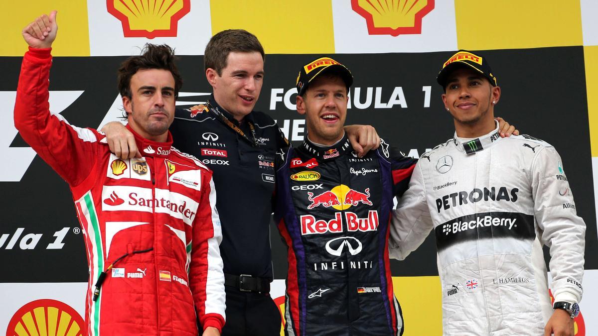 Fernando Alonso, Lewis Hamilton et Sebastian Vettel