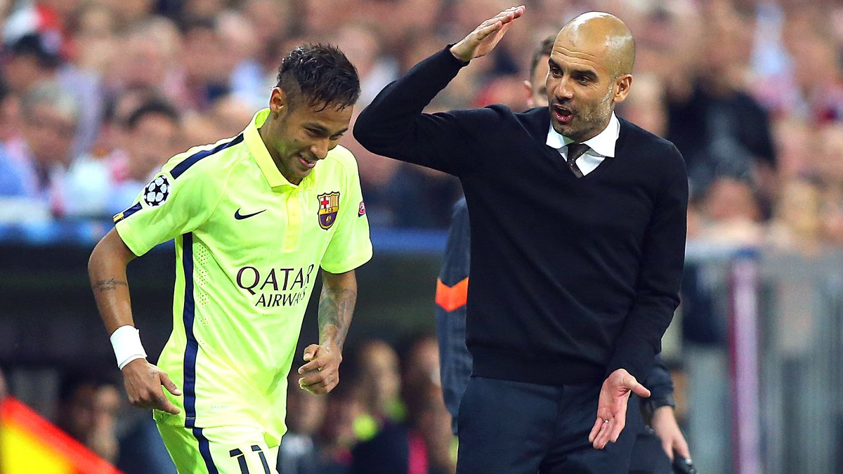 Image result for Pep Guardiola with neymar